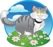 Grey fat cat on the color background — Stock Vector