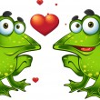 Green frogs in love — Stock Vector