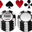 Poker black gambling chips and suit - Stock Vector