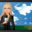 Stock Vector: Blond girl and weather news
