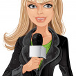 Stock Vector: Reporter blond girl