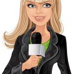 Reporter blond girl — Stock Vector