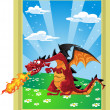 Dragon on the fairytale landscape - Stock Vector