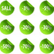 Green glossy Sale stickers — Stock Vector