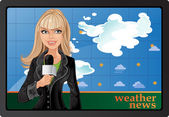 Blond girl and weather news — Stock Vector