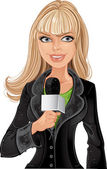 Reporter blond girl — Stock Vector