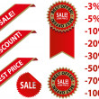 Red sale tags with discount - Stock Vector