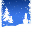 CHRISTMAS TREES AND SNOW MAN — Stock Photo
