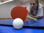 Pingpong ball and racket — Stock Photo