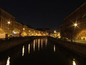 Night view of the Fontanka riverside — Stock Photo