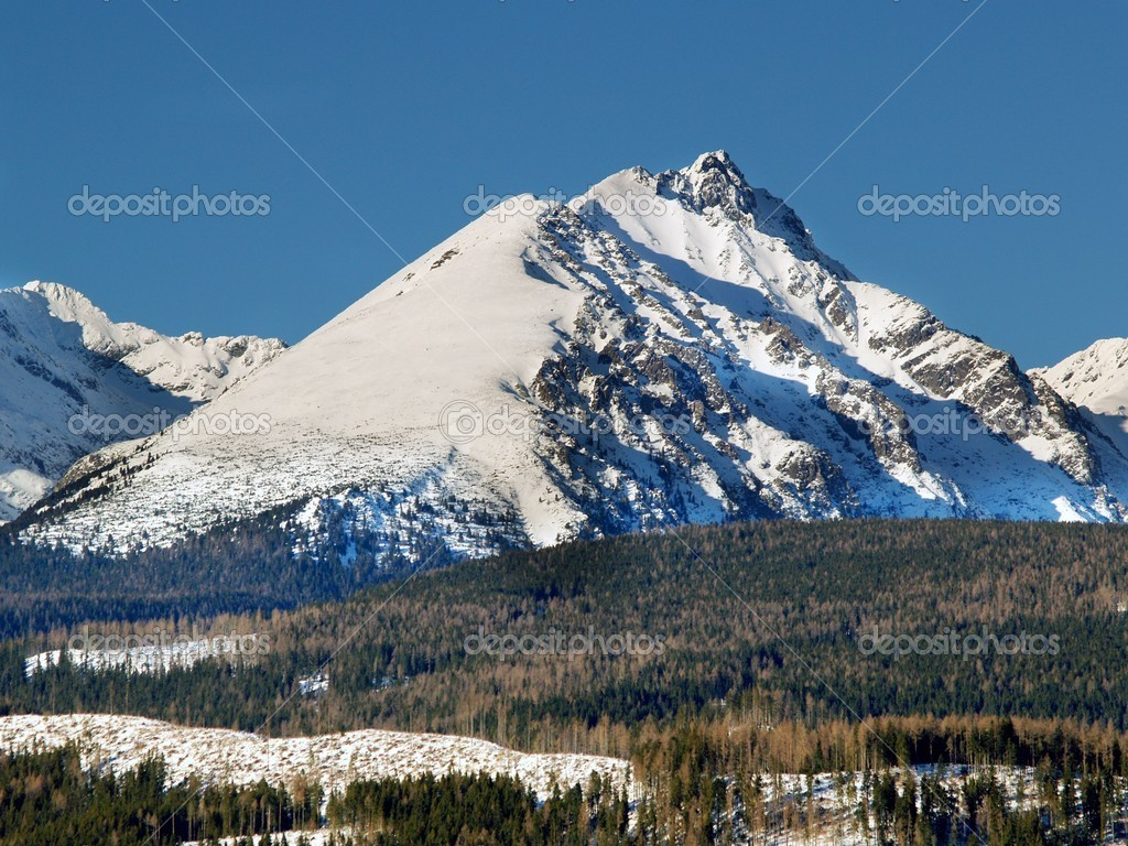 A view of The Tatra Mountains in winter, Slovakia.  Stock Photo #2249189