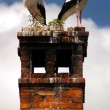 Two storks on chimney - Stock Photo