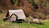 Havranok, wooden houses — Stock Photo