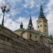 Church and city wall in Zilina — Stock Photo