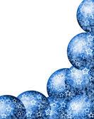 Modrý vánoční rohový rám — Stock fotografie