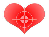 Aim To Red Heart — Stock Photo