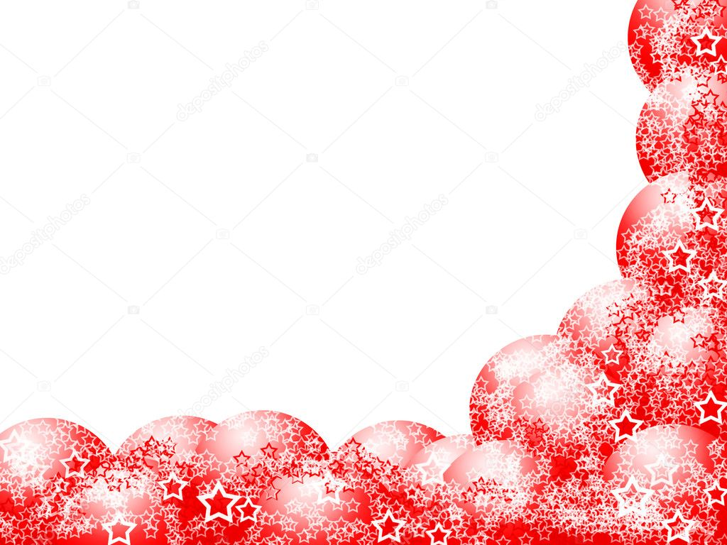 Elegant Beautiful Christmas Red Bright Corner Frame with Festive Bauble Balls and Lacy White Stars over Blank White Background — Stock Photo #1430019