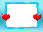 Icy Frame with Red Hearts — Stock Photo