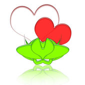 Hearts Couple In Green Vase — Stock Photo