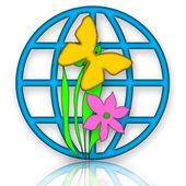 Globus, Schmetterling und Blume — Stockfoto