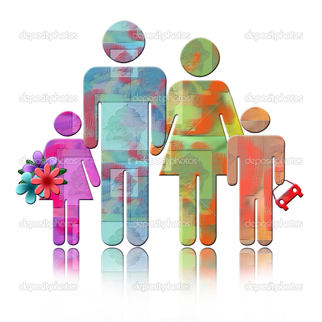 Abstract family colorful Illustration of parents with two children isolated over white background with reflection — Stock Photo #2615976