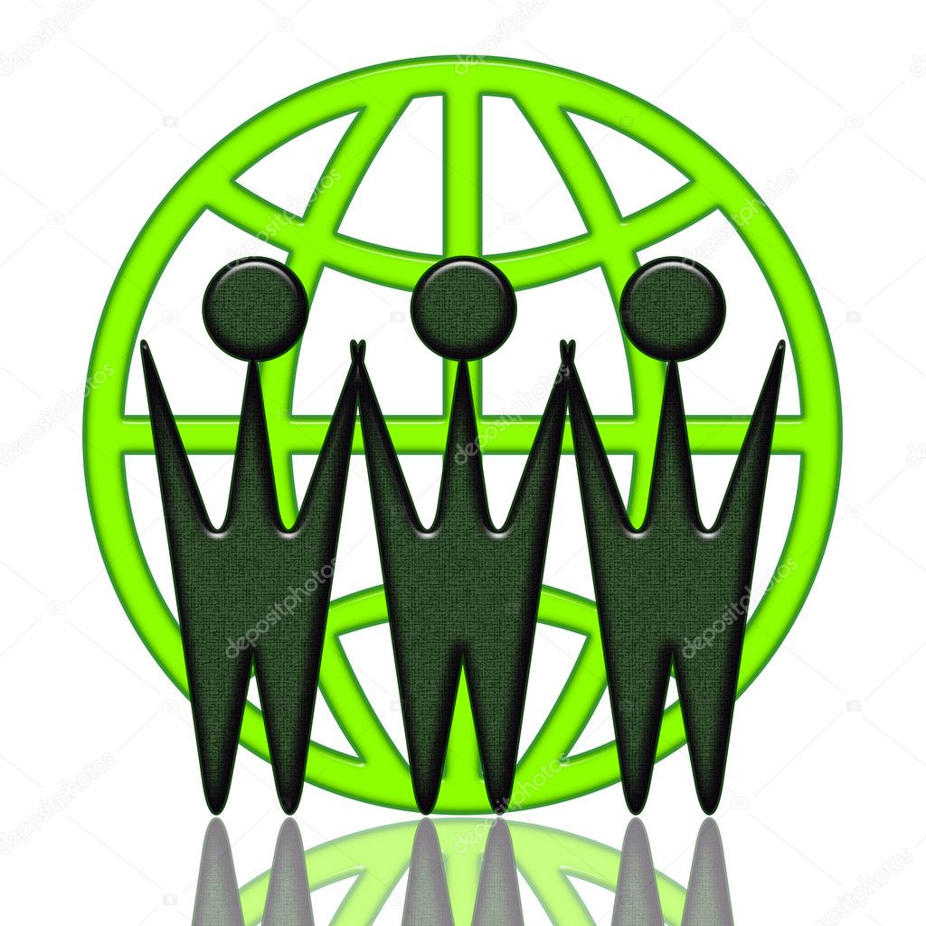 Internet cooperation green business icon with WWW letters as business from different locations, conceptual illustration over white background — Stock Photo #2681391