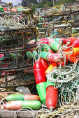 Red and green crab floats — Stock Photo
