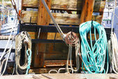 Harbor detail, coils of rope — Stock Photo