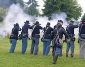 Union infantry line firing — Stock Photo