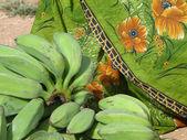 Green bananas and sari — Stock Photo