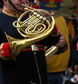 Horn player, marching band — Foto Stock
