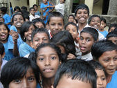Curious Indian school children — Stock Photo