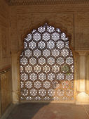 Intricate marble screen in Amber Fort, — Foto de Stock