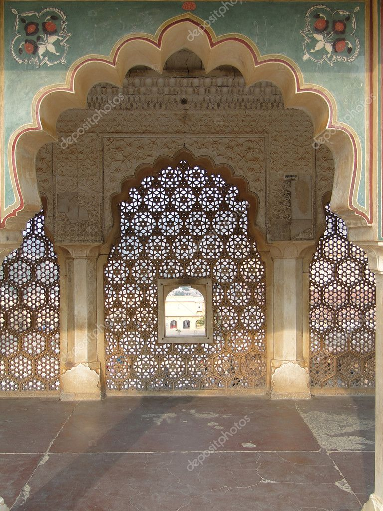 Intricate marble screen in  Amber Fort, near  Jaipur, Rajasthan,  India    — Stock Photo #1971013