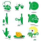 Green Dishes — Stock Vector