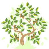 Oak With Acorn — Stock Vector