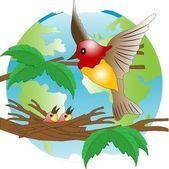 Bird on jack on background of the globe — Stock Vector