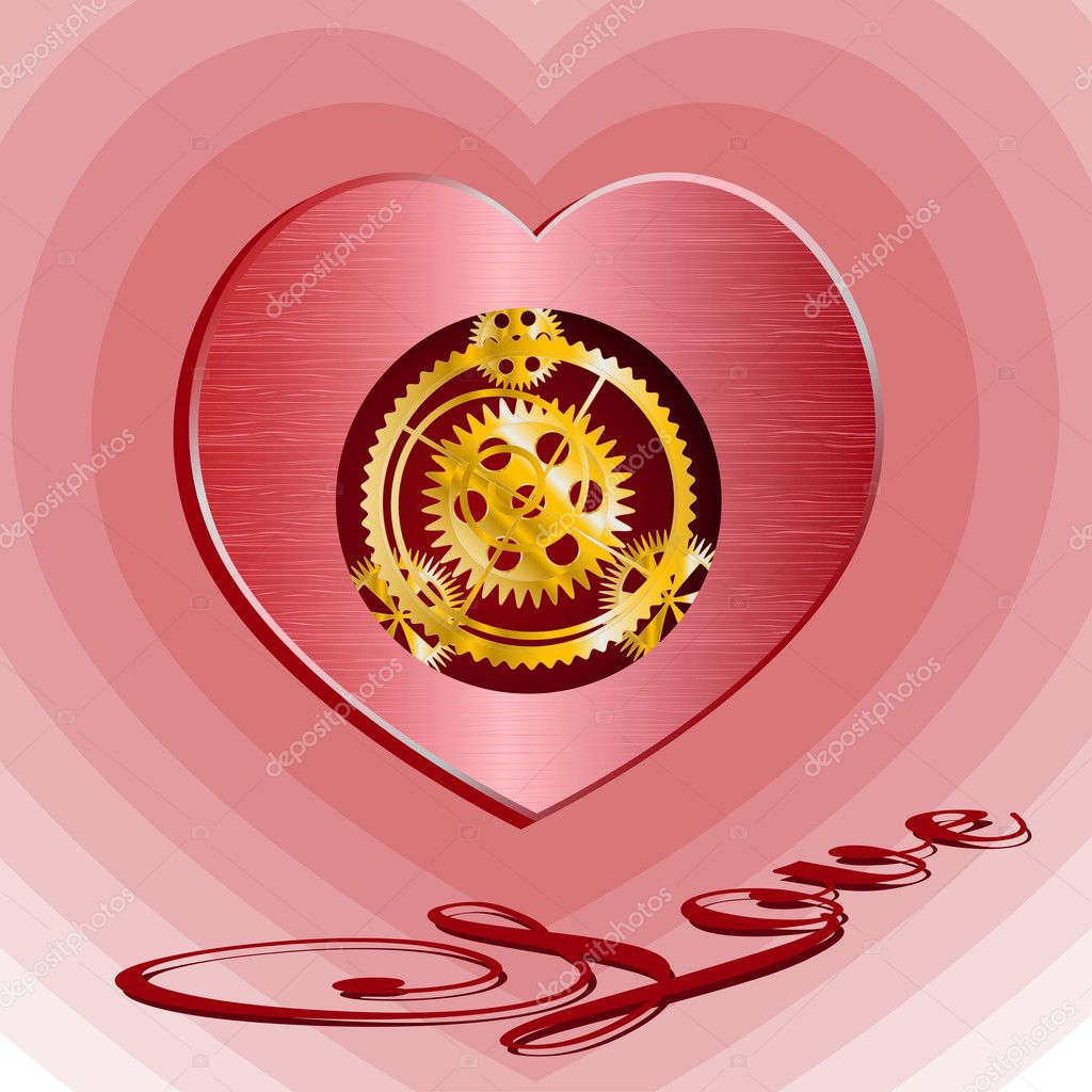 Heart with mechanism inwardly and inscription on rose background  Stock Vector #1558414