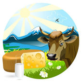 Milk And Cheese — Stock Vector