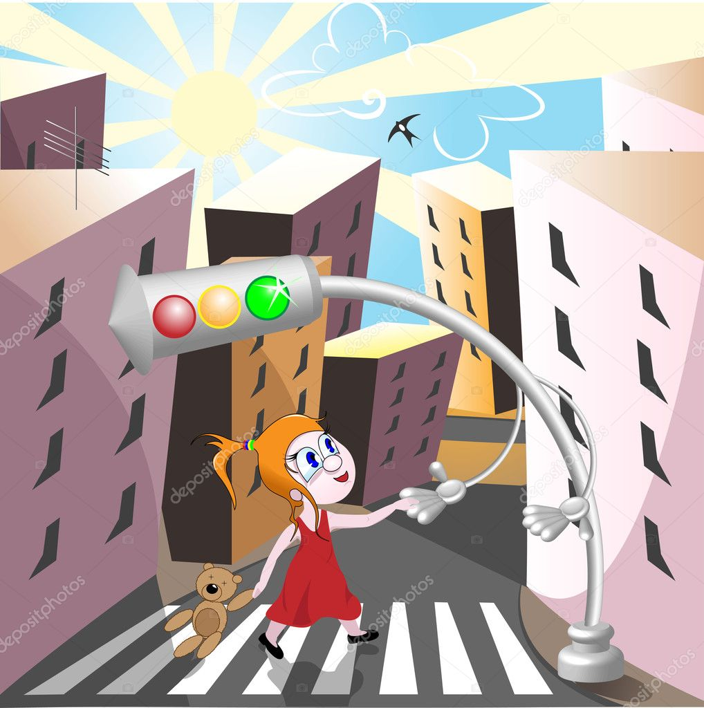Traffic light helps girl to cross the street — Stock Vector #1725882