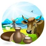 Milk in pitcher — Stock Vector #1809304