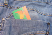 Jeans pocket with credit card inside — Stock Photo