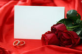 Red roses and blank card — Stock Photo
