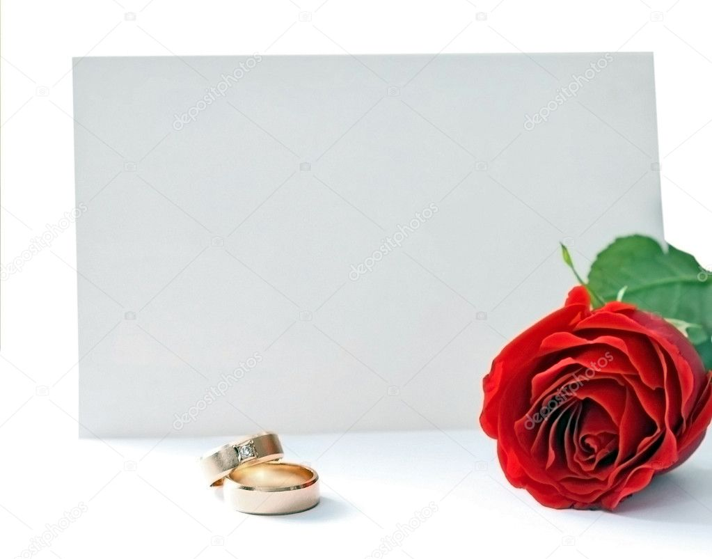   Invitation card and rose isolated on white  Stock Photo #1982967