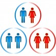 Royalty-Free Stock Imagen vectorial: Men and women icons. Graphic elements set.