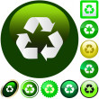 Recycle symbol button. Vector set. - Stock Vector