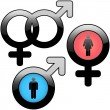 Stock Vector: Male and female symbols. Vector illustrations
