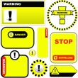 Warning vector label. Vector template. — Vettoriali Stock