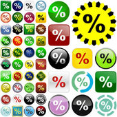Percent button — Stock Vector