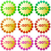 Discount label templates with different percentages — Stok Vektör